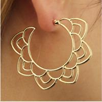 Lotus Mandala Flower Hoop Dangle Earring - Bohemian Boho Hippie, Yoga Jewelry