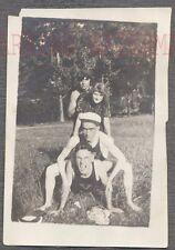 Unusual Vintage Photo Scary Men & Pretty Girl Human Totem Pole 735244