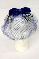 Vintage Headpiece Blue Velvet Bow Fascinator Union Made 1950's 1960's