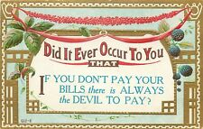 Antique DB Comic Postcard K001 Embossed Unpost There is Always the Devil to Pay