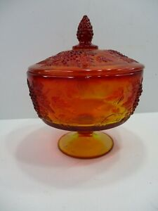 """Vintage L E Smith Amberina Glass Compote Covered Candy Dish Grapes & Leaves 7"""" T"""