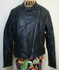 Fur Lined Faux Leather Moto Jacket Womens M