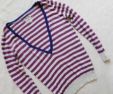 RIVER ISLAND ladies deep v neck lightweight  purple stripe  jumper size 10