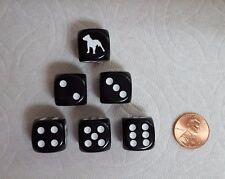 DICE>>*6/SET* CHX CUSTOM PIT BULL TERRIERS ON 16mm OPAQUE BLACK w/WHITE DOG #1