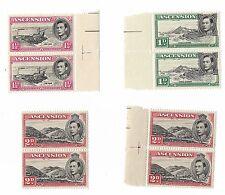 1938 ASCENSION ISLANDS 1D / 1 1/2D & 2D GEORGE VI BLOCKS MNH 1D PRINT FLAW