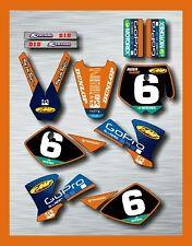KTM SX 50 Kit De Gráficos Kit de Pegatinas Decal Conjunto de 2002 - 2008 piloto nombre carrera #