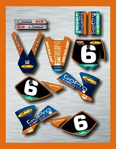 KTM SX 50 GRAPHICS KIT STICKER KIT DECAL SET 2002 - 2008 rider name race #