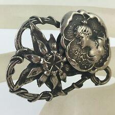Nouveau Cameo/Portrait/Flower/Wir ed Heart Vintage Silver Plate Brooch/Pin Art