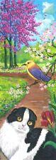 New listing Original Double Length Aceo Painting Scottish Fold Tuxedo Cat Ryta Garden Spring