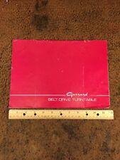 Garrard Belt Drive Turntable Original Owners Manual 8 English Pages + Illustra