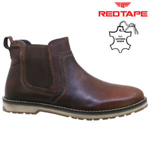 MENS LEATHER CHELSEA BOOTS DEALER ANKLE SMART FORMAL CASUAL SLIP ON WORK SHOES