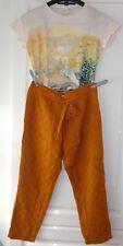 ENSEMBLE Pantalon carrot orange ocre pompon ET top écru motif ZARA 8 10 ANS