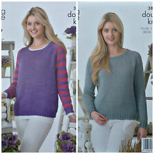 KNITTING PATTERN Ladies Long Sleeve Round Neck Striped Jumper Cotton DK 3895