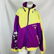 Joe camel cigarettes xl vintage racing jacket yellow purple hood  full zip