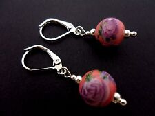 A PAIR OF LOVELY SILVER PLATED PORCELAIN FLOWER BEAD LEVERBACK HOOK EARRINGS NEW