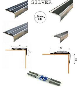ALUMINIUM STAIR NOSING EDGE NON-SLIP BLACK  & GRAY RUBBER 90cm