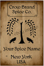 Primitive Willow Tree Spice Labels   Customized For You.    #A16