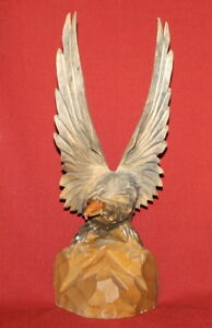 Antique European Hand Carving Wood Eagle Figurine