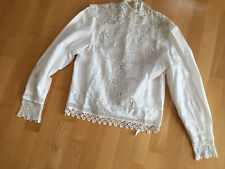 VINTAGE Cotton Lace Front & Button Back Boho White Blouse Shirt Top UK 10