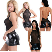 Womens Latex Leather Mini Dress Mesh Bodycon Lingerie Evening Party Cocktail Hot