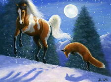 Pinto horse red fox moon shadows winter snow limited edition aceo print art