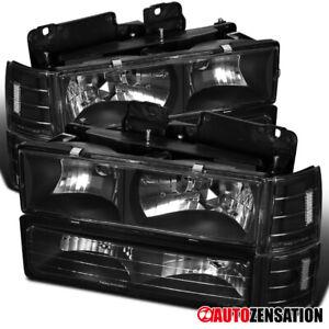 For 94-98 GMC C10 Sierra Yukon Black Headlights+Bumper+Corner Lamps Pair