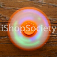 LED Tri Spinner Fidget Spinners EDC Figet Hand Desk Focus Toy ADHD -USA- ORANGE
