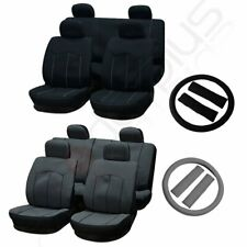 Universal Black/Gray Car Seat Covers W/HeadRest/Steering Wheel Cover/Belt Pad