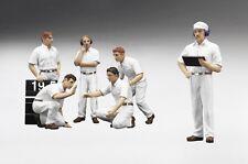 TSM F1 Pit Crew 6 Figurines - Classic Style White, TSM12AC10 1/18 +