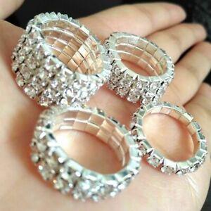 Elastic Diamante Silver Crystal Rhinestone Wedding Rings Women 1/2/3/4 Rows