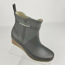 Tretorn Womens Ankle Rain Boots Gray Rubber Wedge Heel Size 39 EU / 8 US