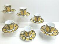 6 GNA Fine Porcelain Mosaic Blue Yellow Demitasse Espresso Tea Cup Saucer SETS