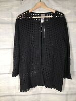 Chicos NWT Sz 2 Open Weave Lace Easy Wear Cardigan Black Sweater Msrp$75