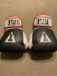 Mens Black Title Boxing glove Black White Red premium Gloves Large L