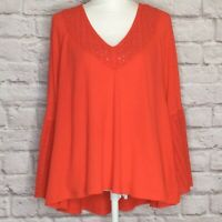 Free People M Parisian Night Bell Sleeve Red Thermal Eyelet Top Size Medium