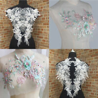 1 Pair Lace Embroidered Polyester Flower Sewing Collar Trim Clothes Sew Applique