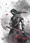 original painting A3 133LV samovar Art watercolor knight warrior samurai Signed