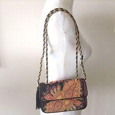 Vtg CASLEIGH NY Black Leather Tapestry Shoulder Bag w/Gold Tone Chain&Tassel