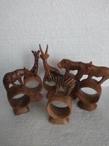 Safari Animal Wooden Napkin Holder Rings Set of 6