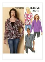 Misses XS-M Dolman Sleeve Surplice Tops Butterick B6245 Pattern Very Easy