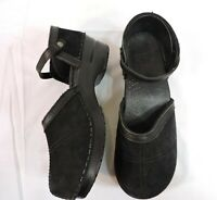 DANSKO Shoes 40 Black Suede Leather Ankle strap WORN ONE TIME