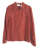Women's Alfred Dunner Collared Long Sleeve Rust Color Zip Jacket Pockets Sz 10
