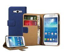 Wallet BLUE Leather Flip Case Cover Pouch for Samsung Galaxy Grand Neo +2 FILM