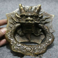 Folk Chinese FengShui Bronze Copper Dragon Head Mask Statue Gate Door Knocker