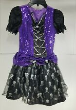 Pre Owned Little Girls Gothic Dress W  Skulls Halloween Costume Vampire Witch T2