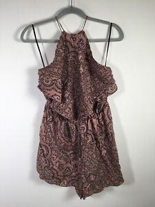Zimmermann womens silk mauve geometric playsuit romper size S sleeveless