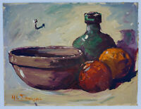 HENRI FRANCOIS Signed OIL JUG FRUITS & BOWL Original Mid-Century Modernism ART