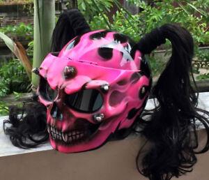 Custom Motorcycle Helmet Pink Skull Girls Helmet Cute Ponytails Helmet for her