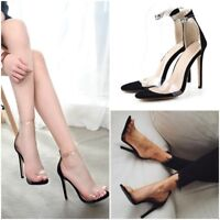 Women Transparent Open Toe Ankle Strap Stilettos High Heels Pump Sandal Summer