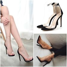 Women Casual Clear Peep Open Toe Ankle Strap Stilettos High Heel Pump Sandals